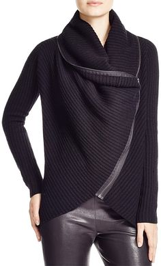 Elie Tahari Nikki Asymmetric Zip Sweater