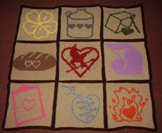 I will be adapting this amazing Hunger Games themed blanket for knitting. AWESOME.