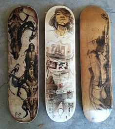 skate art by Ryan Woodwrd Skateboard Deck Art, Skateboard Design, Electric Skateboard, Longboard Design, Longboard Decks, Skates, Skate Photos, Skate Art, Skate Decks