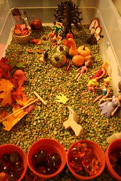 """I would have loved this as a kid ~ perhaps that's why I cook and make soap!    Feed the senses!  Some have more sense than others :)    Fall Sensory Box - use dried green split peas as filler.  You can make them """"scented"""" with a dash of cinnamon and allspice and a few real cinnamon sticks.  Silk and/or felt faux leaves, faux gourds and pumpkins, Turkey, etc."""