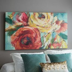Oversized blooms and an intricate design, our Abstract Blossoms Canvas Art Print is a conversation-started! Its rich colors bring this modern print to life. Flower Painting Canvas, Diy Canvas Art, Canvas Art Prints, Acrylic Flowers, Paint Flowers, Painting Inspiration, Abstract Art, Abstract Portrait, Art Projects