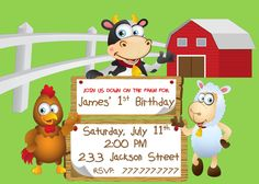 DIY PRIntABLE Farm Birthday Party Invitation With Cow, Pig and Sheep Customized with your Details by PerfectedbyGrace on Etsy