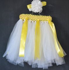 Items similar to Spring Yellow and White Daisy Tutu. With Matching Headband. on Etsy Tutu, Daisy, Flower Girl Dresses, Yellow, Trending Outfits, Wedding Dresses, Spring, Skirts, Vintage