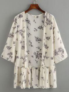 Ruffled Hem Flower Print Chiffon Kimono - Beige