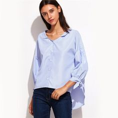 857bea42ae Blue Vertical Striped Lantern Sleeve Blouse $26.00 Free Worldwide Shipping  www.ShopDulceVida.com .