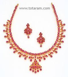 22 Karat Gold Rubies Necklace & Drop Earrings Set: Totaram Jewelers: Buy Indian Gold jewelry & 18K Diamond jewelry