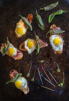 A Tapa of Chorizo or Serrano Ham, Quail Eggs, and Padrons