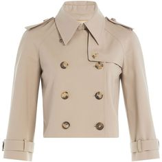 Michael Kors Collection Cotton Trench Jacket ($1,165) ❤ liked on Polyvore featuring outerwear, jackets, camel, pink trench coat, pink jacket, cropped trench coat, michael kors jackets and cropped jacket