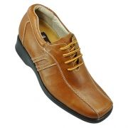 Brown Cowhide Leather Upper Lace-up Elevator Shoes For Men