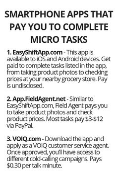 Smartphone Apps That Pay You To Complete Micro Tasks - Wisdom Lives Here Best Picture For educationa Earn Money From Home, Earn Money Online, Way To Make Money, Legit Work From Home, Work From Home Jobs, Apps That Pay You, Work From Home Opportunities, Budgeting Finances, Useful Life Hacks