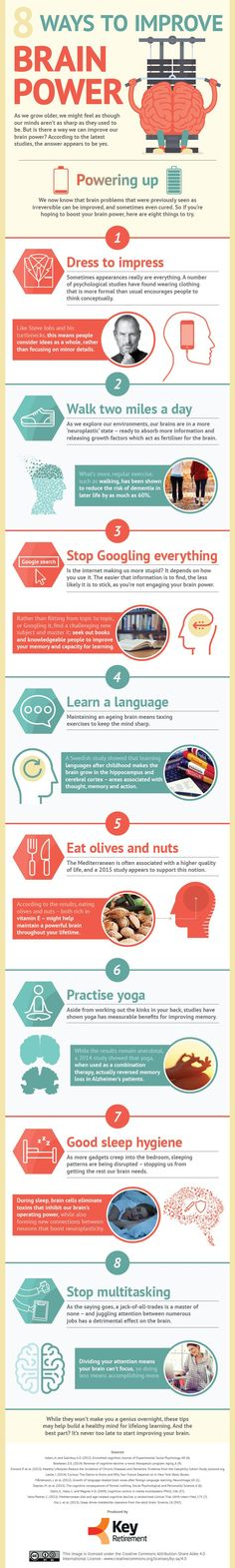8 Ways To Improve Brain Power #Infographic