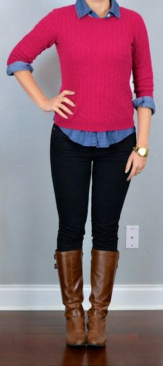 Outfit Posts: outfit post: pink sweater, chambray shirt, black skinny jeans, boots