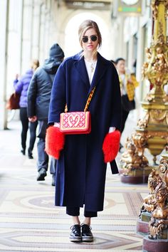 PRADA SHOES STEFANEL TROUSERS EQUIPMENT SHIRT LOUIS VUITTON COAT MSGM FURRY GLOVES (f/w 2014/2015) MOSCHINO BAG HAIR BY REDKEN 5TH AVE
