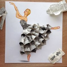 Armenian Fashion Illustrator Creates Stunning Dresses From Everyday Objects Pics) Edgar Artis fashion sketch art newspaper dress.Armenian fashion illustrator Edgar Artis creates gorgeous dress designs with everyday objects he finds at home. Fashion Design Drawings, Fashion Sketches, Drawing Fashion, Fashion Illustrations, Collage Illustrations, Fashion Illustration Dresses, Fashion Illustration Collage, Dress Illustration, Fashion Painting