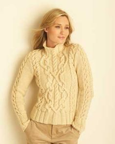 The detailed cabling on this challenging sweater is a delight to show off when finished.