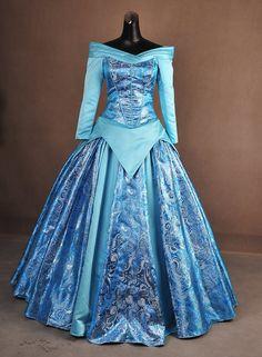 Sleeping Beauty Aurora Blue Silver Brocade by AddictedToMagic Disney Princess Dresses, Princess Costumes, Disney Dresses, Disney Outfits, Princess Aurora, Robes Disney, Cosplay Costumes, Halloween Costumes, Adult Costumes