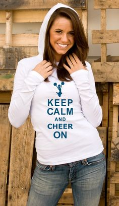 I don't want this.... I NEED this!!!   Keep Calm & Cheer On by MyCupofTeeShop on Etsy, $24.00