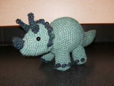 Handmade Crochet Dinosaur Triceratops Stuffed Animal
