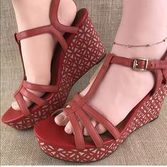 d1981382e60 Shop Women s Clarks Red Cream size 10 Wedges at a discounted price at  Poshmark. Description  Clarks Sandals Heels Women s Leather Wedge Heel  Buckle Open Toe ...