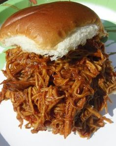 Crock Pot Pulled Chicken- Use 28 oz bottle and double the rest of the ingredients. Cook for 4.5 hours on low
