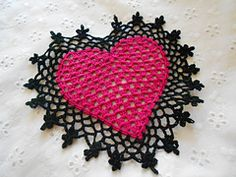 This is a lovely coaster (or Mini Doily) to crochet for that special someone you love. Great for Valentine's Day too! Crocheted in size 10 Off White thread & crochet hook size 7.