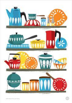 Kitchen Art Cathrineholm homewares shelf, Mid Century illustration A3 / 11x14. $24.00, via Etsy.