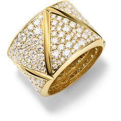 Marina B 18K Yellow Gold Triangoli Full Diamond Ring ($15,695) ❤ liked on Polyvore featuring jewelry, rings, gold rings, gold jewelry, 18k yellow gold ring, wide-band rings and wide band diamond rings