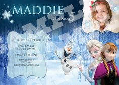 INCLUDES your childs name in the Disney Frozen Font! Printable Disney FROZEN Birthday Invitation! Includes a photo of your little one!   To Purchase