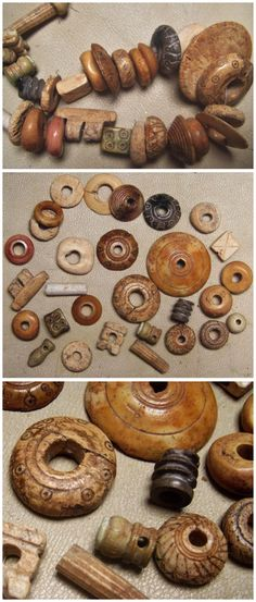Ancient bone and shell beads, Sassanian. [Most of these look like spindle whorls to me.]