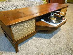 Danish Garrard GE General Electric Radio/Record Player Console Coffee Table Mod