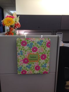 Matching inbox just outside my cubicle.  Cubicle Ideas Cubicle Decorations