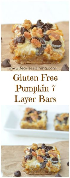 Gluten Free Pumpkin 7 Layer Bars are a delicious easy dessert anytime. Recipe atGluten Free Pumpkin 7 Layer Bars are a delicious easy dessert anytime. Gluten Free Deserts, Gluten Free Sweets, Gluten Free Cooking, Dairy Free Recipes, Diabetic Recipes, Diet Recipes, Cooker Recipes, Gourmet Recipes, Soup Recipes