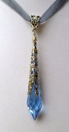 Swarovski Crystal, prism,  wand point, pendant, pendulum, necklace