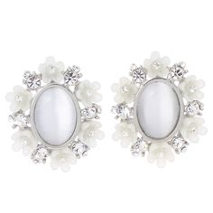 Stud earring,with cats eye,flower,white,