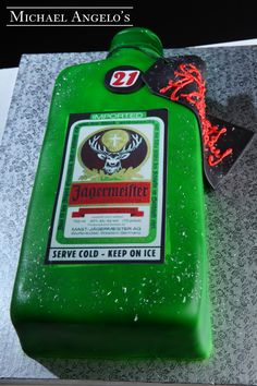 Jagermeister #7Food  Jagermeister anyone?  This cake features the famous green bottle iced in fondant and labeled with an edible image.  As a final touch, the cake is sprinkled with sugar crystals and includes your special birthday message on the gift tag.