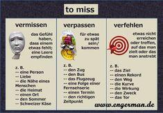 German for all Deutsch für alle: to miss in German - Photo German Grammar, German Words, Learning Resources, Teacher Resources, Reflexive Verben, German Resources, Deutsch Language, Learn German, German Language Learning
