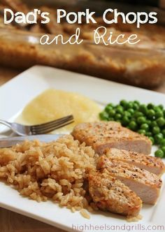 Yummy pork chops and rice. Can be made with chicken breasts as well! #recipe #dinner http://www.highheelsandgrills.com/2012/11/dads-pork-chops-and-rice.html