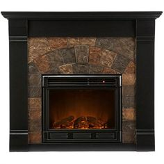 Could I resurface my brick with my beloved copper Indian slate and buy a wood mantle surround?
