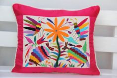 Fuchsia and multi colored Summer Silk and Otomi by CasaOtomi