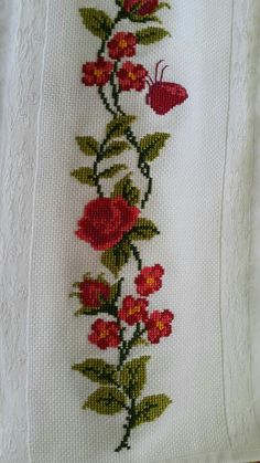 Embroidery on a handtowel༺✿༻ This post was discovered by Mu Barbara R. Cross Stitch Bird, Cross Stitch Borders, Cross Stitch Animals, Cross Stitch Flowers, Cross Stitch Designs, Cross Stitching, Cross Stitch Embroidery, Hand Embroidery, Cross Stitch Patterns
