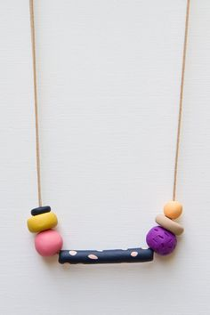Handmade Clay Bead Necklace