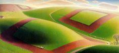 Spring Turning by Grant Wood (Painting ID: Grant Wood Paintings, Art Deco Paintings, Oil Paintings, Modern Paintings, Iowa, John Steuart Curry, Reynolda House, Oil Painting Gallery, Art Grants