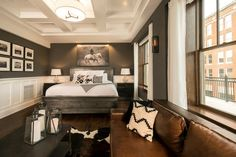 """The Boarding House is an eight-room """"cowboy luxury"""" hotel just a few doors down from The Pioneer Woman Mercantile in Pawhuska, Okahoma. Home Bedroom, Bedroom Wall, Charcoal Walls, Butterfly Room, Velvet Furniture, Boarding House, Ranch Decor, Rustic Bathrooms, White Rooms"""