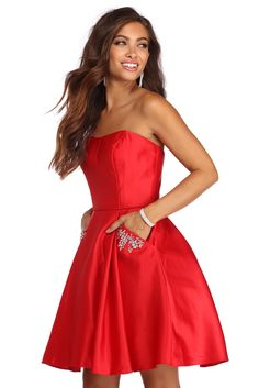 Adelaide Reign In Rhinestones Party Dress Short Red Prom Dresses, Semi Formal Dresses, Hoco Dresses, Formal Prom, Dresses For Sale, Strapless Dress Formal, Masquerade Ball Gowns, Windsor Dresses, Princess Seam