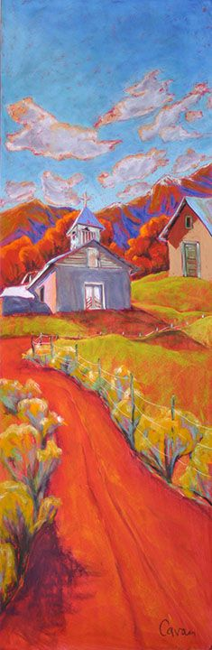 art by Jennifer Cavan, a NM artist who creates whimsical oil pastel drawings of the landscape.