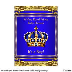 Gold crown royal blue fancy prince baby shower invitation prince prince royal blue baby shower gold boy invitation filmwisefo