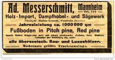 Original-Werbung/Anzeige 1913 - DAMPFHOBEL - UND SÄGEWERK MESSERSCHMITT MANNHEIM - ca. 110 x 50  mm