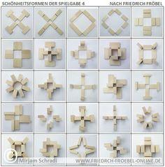 Spielgaben nach Fröbel - Schönheitsformen (Forms of Beauty) mit den Holzbausteinen der Spielgabe 4