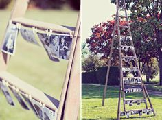 @Amanda K Photography - This is such a simple wonderful idea for displaying pictures outdoors - Baby shower, wedding, Family reunion, my living room!!