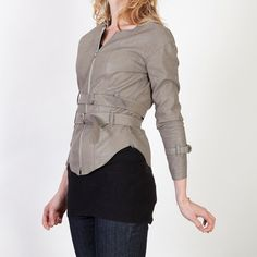 Taupe/Gray Fitted Faux Leather Jacket with Double by BritishSteele, $150.00